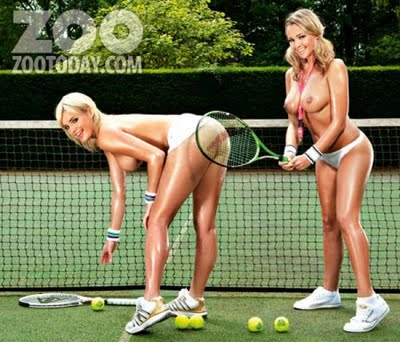 Amy Green And Jodie Gasson Play Topless Tennis For Zoo www.GutterUncensored